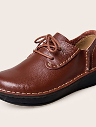 cheap -Women's Shoes Nappa Leather Fall Winter Comfort Oxfords Flat Heel Lace-up For Casual Dress Brown Black
