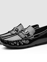 cheap -Men's Shoes Nappa Leather Fall / Winter Moccasin Loafers & Slip-Ons White / Black / Wine