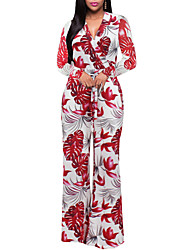 cheap -Women's Going out Holiday Vintage Sexy Boho Floral Color Block Geometric V Neck Jumpsuits,Wide Leg Long Sleeve Spring Fall Polyester