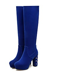 cheap -Women's Shoes Customized Materials Winter Comfort Snow Boots Fashion Boots Bootie Boots Chunky Heel Round Toe Closed Toe Knee High Boots
