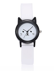Women's Kid's Wrist watch Chinese Quartz Silicone Band Cartoon Cat Black White
