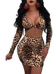 cheap -Women's Daily Going out Sexy Street chic Spring Fall T-Shirt Skirt Suits,Leopard Sexy V Neck Polyester Micro-elastic