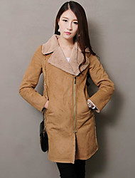 cheap -Women's Daily Simple Casual Fall Coat,Solid Notch Lapel Long Sleeve Regular Others