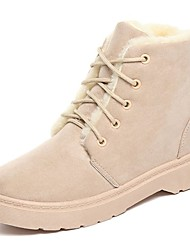 Women's Shoes Nubuck leather PU Suede Fall Comfort Fashion Boots Boots Block Heel Round Toe Mid-Calf Boots Lace-up For Casual Brown Gray
