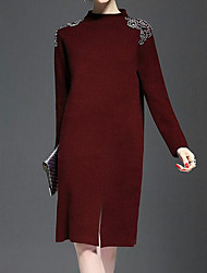 Largo Vestito Da donna-Casual Tinta unita Rotonda Sopra il ginocchio Manica lunga Lana Pelliccia di coniglio Autunno Inverno A vita