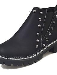 Недорогие -Для женщин Обувь Полиуретан Осень Удобная обувь Модная обувь Ботинки Круглый носок Ботинки На эластичной ленте Назначение Повседневные