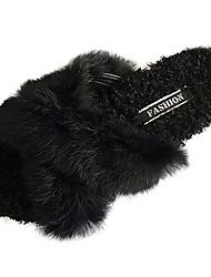 cheap -Women's Shoes PU(Polyurethane) Winter Comfort / Fur Lining Slippers & Flip-Flops Open Toe Black / Beige / Camel