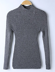 cheap -Women's Going out Regular Pullover,Solid Turtleneck Long Sleeves Others Winter Spring Medium Micro-elastic