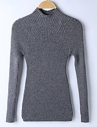 Standard Pullover Da donna-Per uscire Tinta unita A collo alto Manica lunga Altro Primavera Inverno Medio spessore Media elasticità