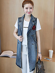 cheap -Women's Holiday Street chic Fall Vest,Print Shirt Collar Long Sleeve Long Others