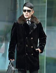 cheap -Men's Daily Simple Casual Fall Fur Coat,Solid Shirt Collar Long Sleeve Long Faux Fur Polyester