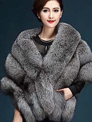 cheap -Women's Daily Simple Casual Winter Fall Cloak/Capes,Solid V Neck Short Fox Fur