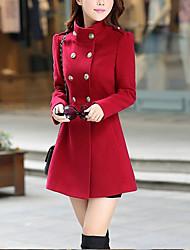 preiswerte -Damen Solide Sexy Lässig/Alltäglich Mantel,Ständer Herbst Lange Ärmel Standard Polyester