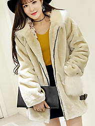 cheap -Women's Daily Going out Street chic Winter Fall Fur Coat,Solid Hooded Regular Fox Fur