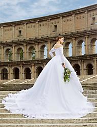 De Baile Cauda Catedral Renda Vestido de casamento com Renda Faixa / Fita Flor de LAN TING BRIDE®
