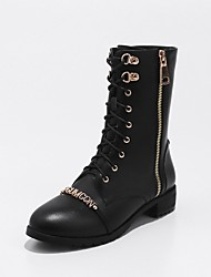 cheap -Women's Shoes Cowhide Spring Fall Comfort Combat Boots Boots Chunky Heel Round Toe Booties/Ankle Boots Zipper Lace-up For Casual Dress