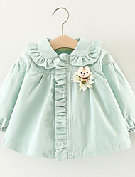 cheap -Girls' Solid Shirt,Cotton Spring Fall Blushing Pink Light Green Khaki
