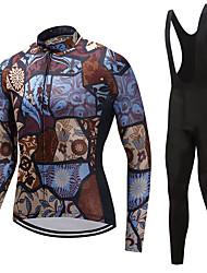 economico -FUALRNY® Per uomo Manica lunga Maglia con salopette lunga da ciclismo - Marrone Bicicletta Set di vestiti