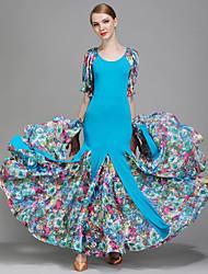 Ballroom Dance Dresses Women's Performance Lace Ice Silk Pleated Pattern/Print 1 Piece Half Sleeve Natural Dress