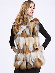 Feminino Colete Casual Sofisticado Inverno,Estampa Colorida Padrão Pêlo de Raposa Colarinho Chinês