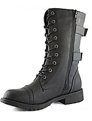 cheap -Women's Shoes PU Fall Winter Comfort Novelty Fashion Boots Boots Flat Heel Round Toe Mid-Calf Boots Zipper Lace-up For Outdoor Dress Black