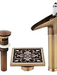 abordables -Robinet - Jet pluie Cuivre antique Set de centre Mitigeur un trou