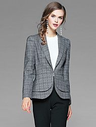 cheap -YHSP Women's Daily Work Simple Casual Street chic Sophisticated Winter Fall Blazer,Color Block Houndstooth Shirt Collar Long Sleeve Short