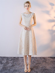 A-Line Bateau Neck Tea Length Cotton Mikado Cocktail Party Dress with Lace by Embroidered bridal