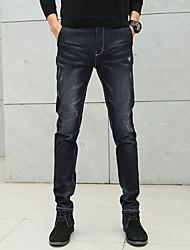Men's Mid Rise Micro-elastic Skinny Jeans PantsSimple Slim Solid