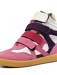Damen Schuhe Wildleder Herbst Winter Pumps Sneakers Keilabsatz Runde Zehe Mittelhohe Stiefel Für Normal Kleid Schwarz Rot Rosa Leopard