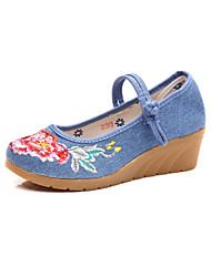 Недорогие -Жен. Обувь Ткань Весна / Осень Удобная обувь / Оригинальная обувь На плокой подошве Заостренный носок Аппликации / Пряжки Черный /