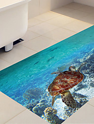 DIY 3D Sea World Turtle Antiskid Floor Stickers Home Decor PVC Undrwater Turtle Floor Anti-slip Ground Decal for Washroom Kids Room 60*120cm