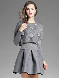 preiswerte -Damen Solide Street Schick Ausgehen Lässig/Alltäglich Bluse Rock Anzüge,Rundhalsausschnitt Herbst Lange Ärmel Dehnbar