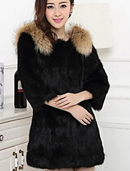 Women's Daily Going out Street chic Winter Fall Fur Coat,Solid Round Neck Regular Rabbit Fur
