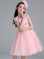 cheap -Ball Gown Knee Length Flower Girl Dress - Organza Sleeveless Jewel Neck with Appliques Lace Sash / Ribbon by YDN