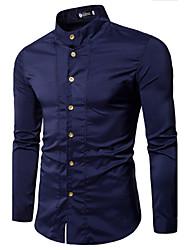 Недорогие -Для мужчин На каждый день Рубашка Рубашечный воротник,Топы Однотонный Длинный рукав,Хлопок