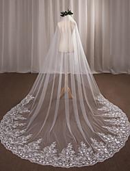 velos de capilla de velo de novia de una sola capa con accesorios de boda de tul de apliques de tul