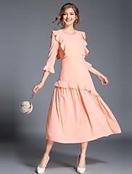 Недорогие -Жен. На выход Винтаж / Изысканный Вспышка рукава А-силуэт Платье - Однотонный, Оборки Средней длины