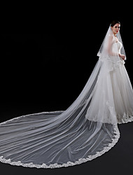 cheap -Two-tier Modern Style Accessories Flower Style Lace Applique Edge Wedding Lace European Princess Bridal Oversized Wedding Veil Blusher