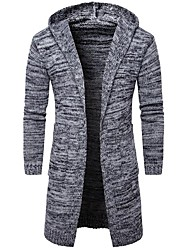 cheap -Men's Daily Casual Regular Cardigan,Solid Hooded Long Sleeves Cotton Polyester Spring Fall Thick Micro-elastic