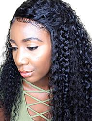 Недорогие -жен. Перуанские волосы Натуральные волосы 360 Лобовой 180% плотность С пушком Крупные кудри Парик Черный Средний