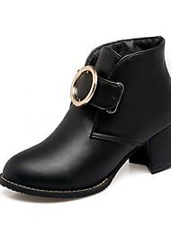 abordables -Femme Chaussures Similicuir Printemps / Hiver Bottes à la Mode / Botillons Bottes Talon Bottier Bout rond Bottine / Demi Botte Points