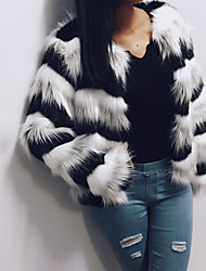 Women's Casual/Daily Work Simple Active Street chic Fall Winter Fur Coat,Solid Round Neck Long Sleeve Short Faux Fur Polyester Others