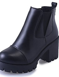 Недорогие -Жен. Обувь Полиуретан Осень / Зима Армейские ботинки Ботинки Блочная пятка Круглый носок Ботинки для Черный