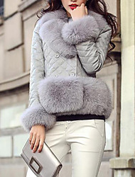 cheap -Women's Going out Street chic Winter Fur Coat,Solid V Neck Long Sleeve Short PU Fox Fur