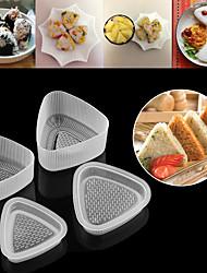 cheap -4pcs Kitchen Bento Decorating Sushi Onigiri Mold Food Press Triangular Form Rice Ball Maker