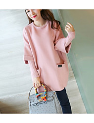 cheap -Women's Daily Dresses Blouse,Solid Round Neck Long Sleeves Others