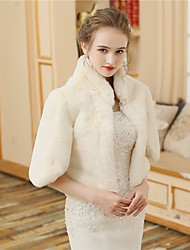 cheap -Faux Fur Wedding Party / Evening Women's Wrap With Buttons Fur Coats / Jackets