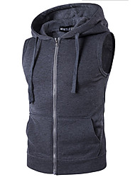 cheap -Men's Daily Simple Casual Winter Fall Vest,Solid Stand Sleeveless Regular PU