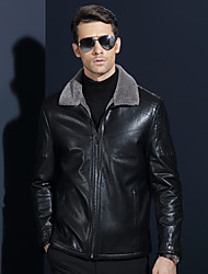 cheap -Men's Daily Street chic Winter Leather Jacket,Solid Square Neck Long Sleeve Short Lambskin